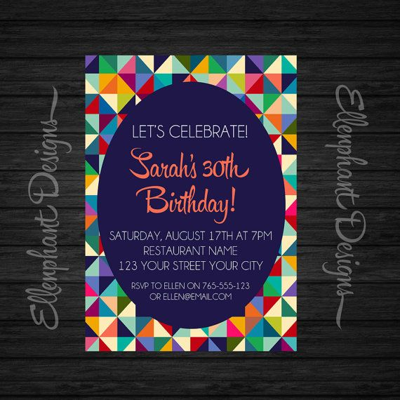 Geometric birthday invitation 21st 30th 40th 50th colorful geometric birthday invitation by ellenphant filmwisefo Gallery