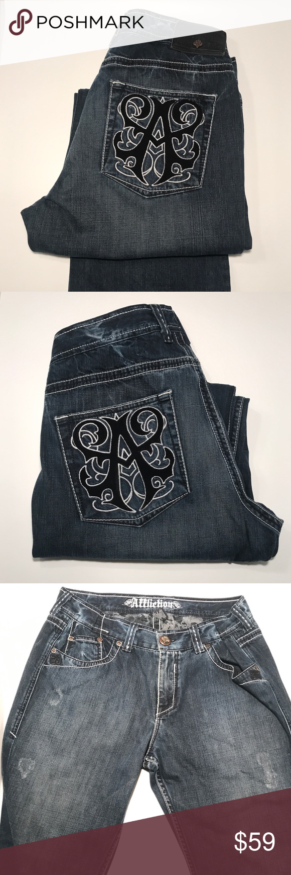 Affliction Denim Killer Jeans Fleur De Lis Pockets My Posh Closet