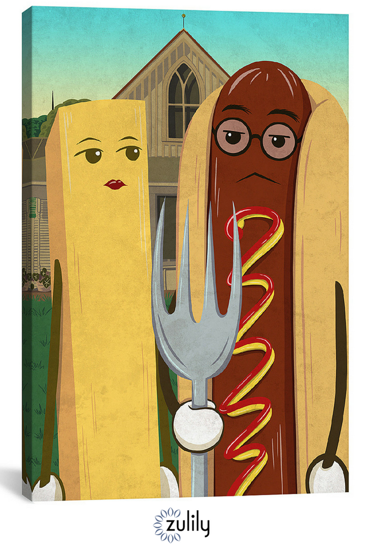 American Gotdog & French Fry Wrapped Canvas. This quirky wall art ...