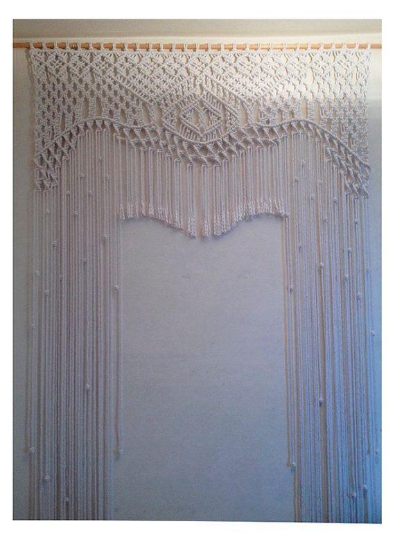 White macrame curtain.WEDDING Macrame by GlassOfGoodLuck on Etsy