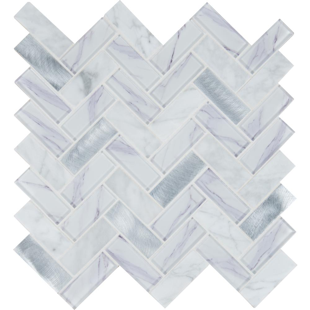 Msi Bytle Bianco Herringbone 12 In X 12 In X 6mm Textured Multi Surface Mesh Mounted Mosaic Tile 1 Sq Ft Sglsmt Bytbia6m The Home Depot In 2020 Herringbone Mosaic Tile Mosaic Tiles Glass