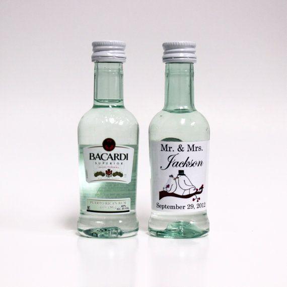 50 Custom Bacardi Rum Mini Bottle Labels Wedding by LiquidCourage ...