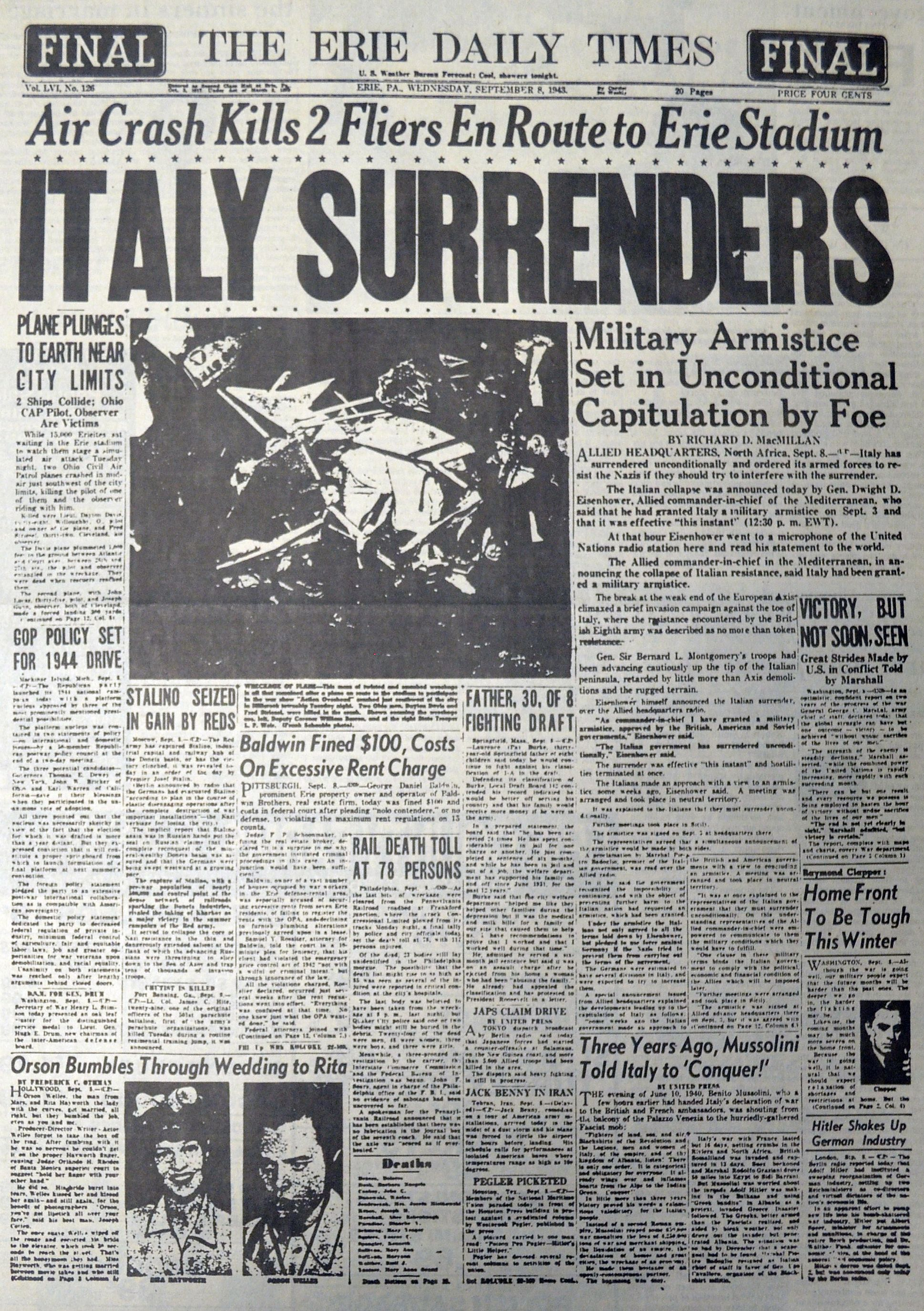 Another Iconic Cover Dated September 8 1943 The Erie Daily Times Covered Italy S Surrender In Wwii Plus T Historical News Historical Moments Newspaper Cover