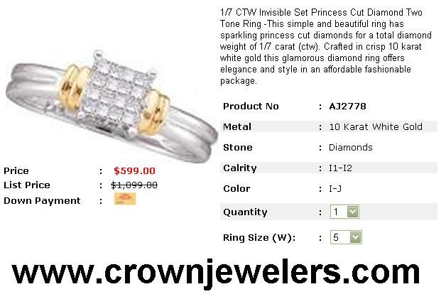 1/7 CTW Invisible Set Princess Cut Diamond Two Tone Ring -This simple and beautiful ring has sparkling princess cut diamonds for a total diamond weight of 1/7 carat (ctw). Crafted in crisp 10 karat white gold this glamorous diamond ring offers elegance and style in an affordable fashionable package. http://www.crownjewelers.com/1/7-CTW-Diamond-Ring-AJ2778-jewelry.asp