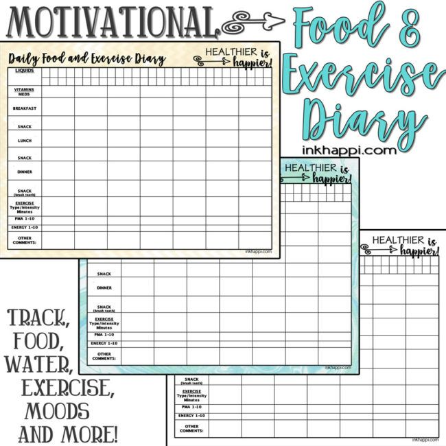 Motivational Food and Exercise Diary Free printable Health