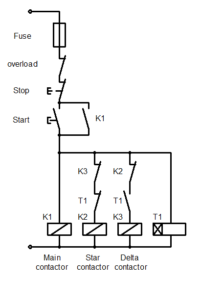Control Wiring Of Star Delta Starter With Diagram Free