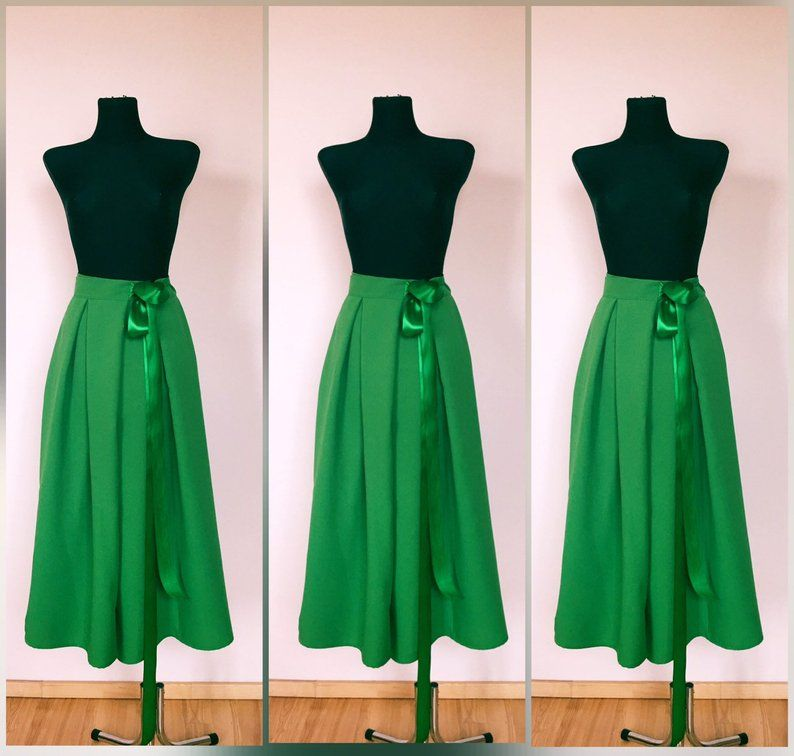133163dc7c Beautiful bright green wrap pleated Maxi skirt with pockets for ...