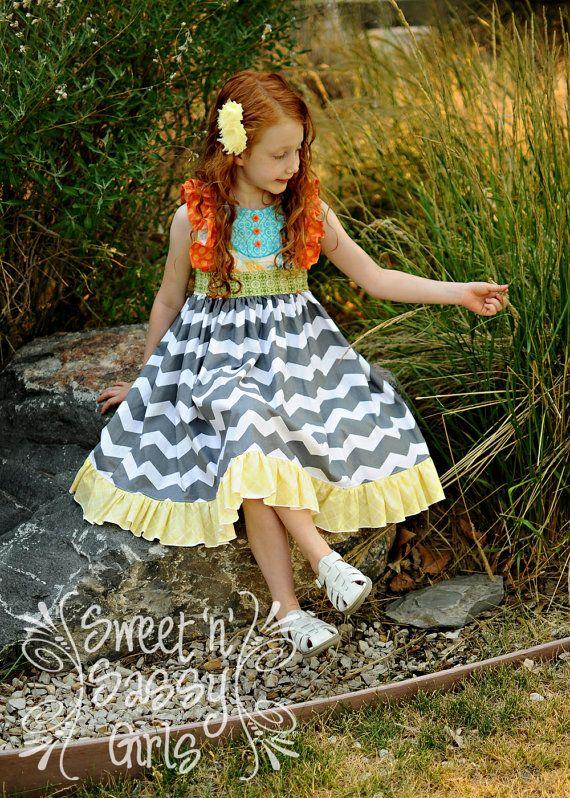 Buy 2 get 1 free..Ruthie\'s Picnic Dress Girl\'s Retro Ruffled Bodice ...