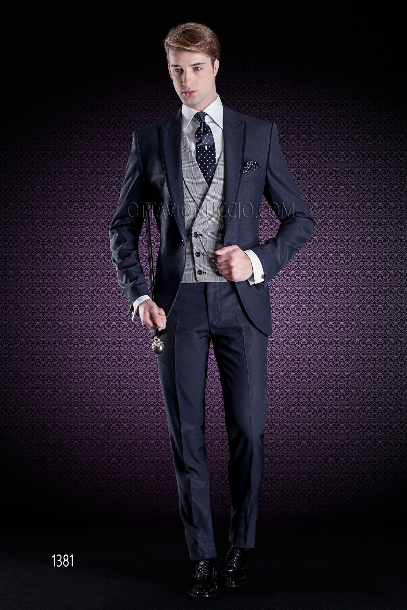 Blue wedding suit with satin trims and grey Prince of Wales double ...