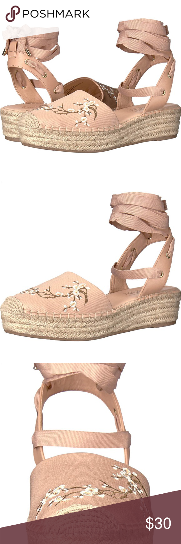 6650ae7c965 Nanette Lepore• Blush Espadrille Wedge Sandal•8.5 Nanette Lepore • Blush  Espadrille Wedge Sandal tie wrap around. Closed toe. EXCELLENT CONDITION!