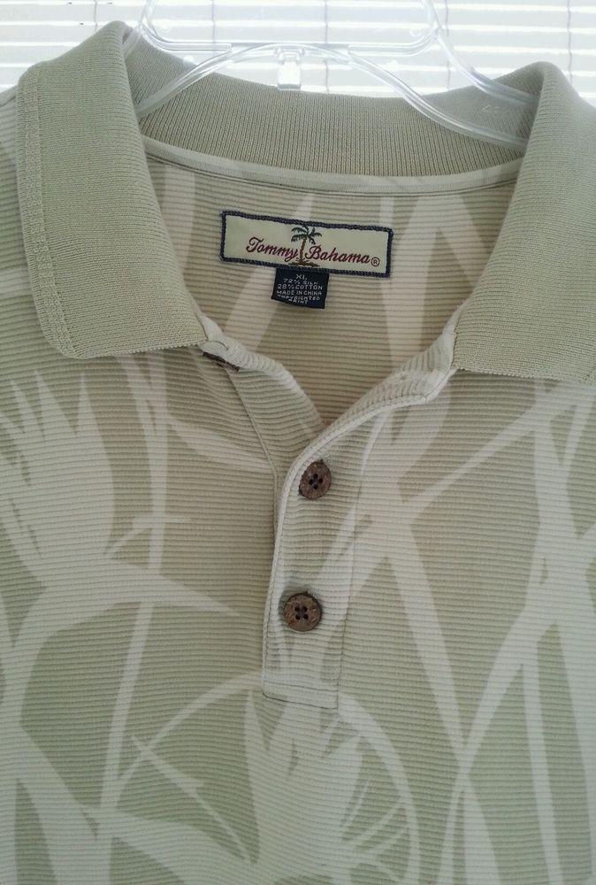 Mens Tommy Bahama Polo Shirt XL Sage Green/ Cream Tropical Design #TommyBahama #PoloRugby