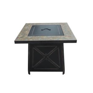 It Matches Our Patio Furniture. It Even Has Taupe And Turquoise Stones!  Hampton Bay BTU 30 In. Cross Ridge Outdoor Gas Fire Pit Table Patio   The Home  Depot