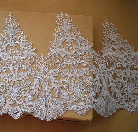 Gold Alencon Embroidered Lace Trim Floral Lace Edge Ribbon Trimmings for Bridal Wedding Evening Dress Sold by 1 Yard