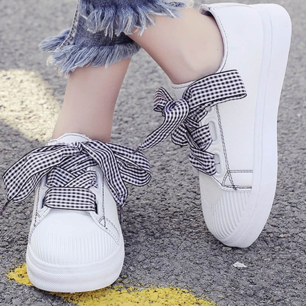 Boutique Shoes   New White Sneaker Wide Ribbon Lace Up Size
