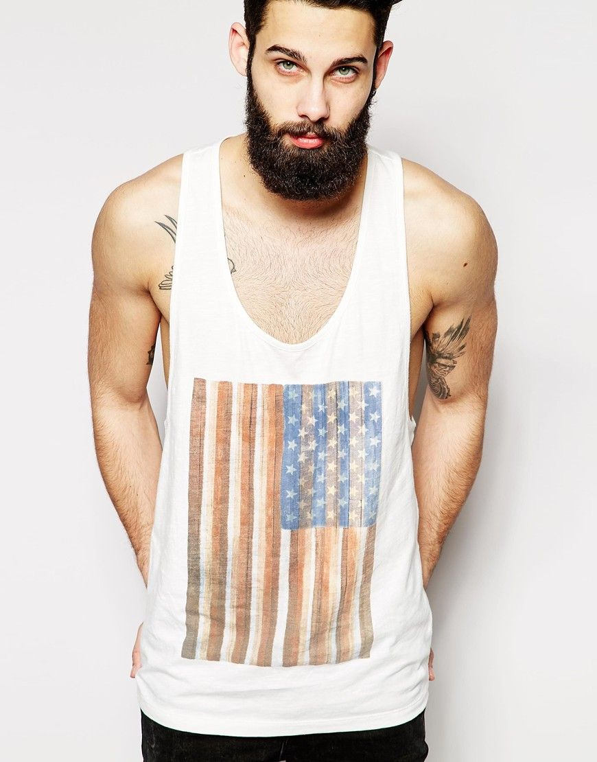 Vest by ASOS Breathable jersey Scoop neck Large print on chest Extreme  racer back Relaxed fit