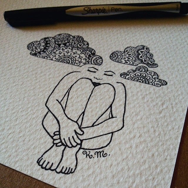"""""""Mood: with my head in the clouds #zentangle #illustration #artwork #drawing #doddle #mandala"""""""
