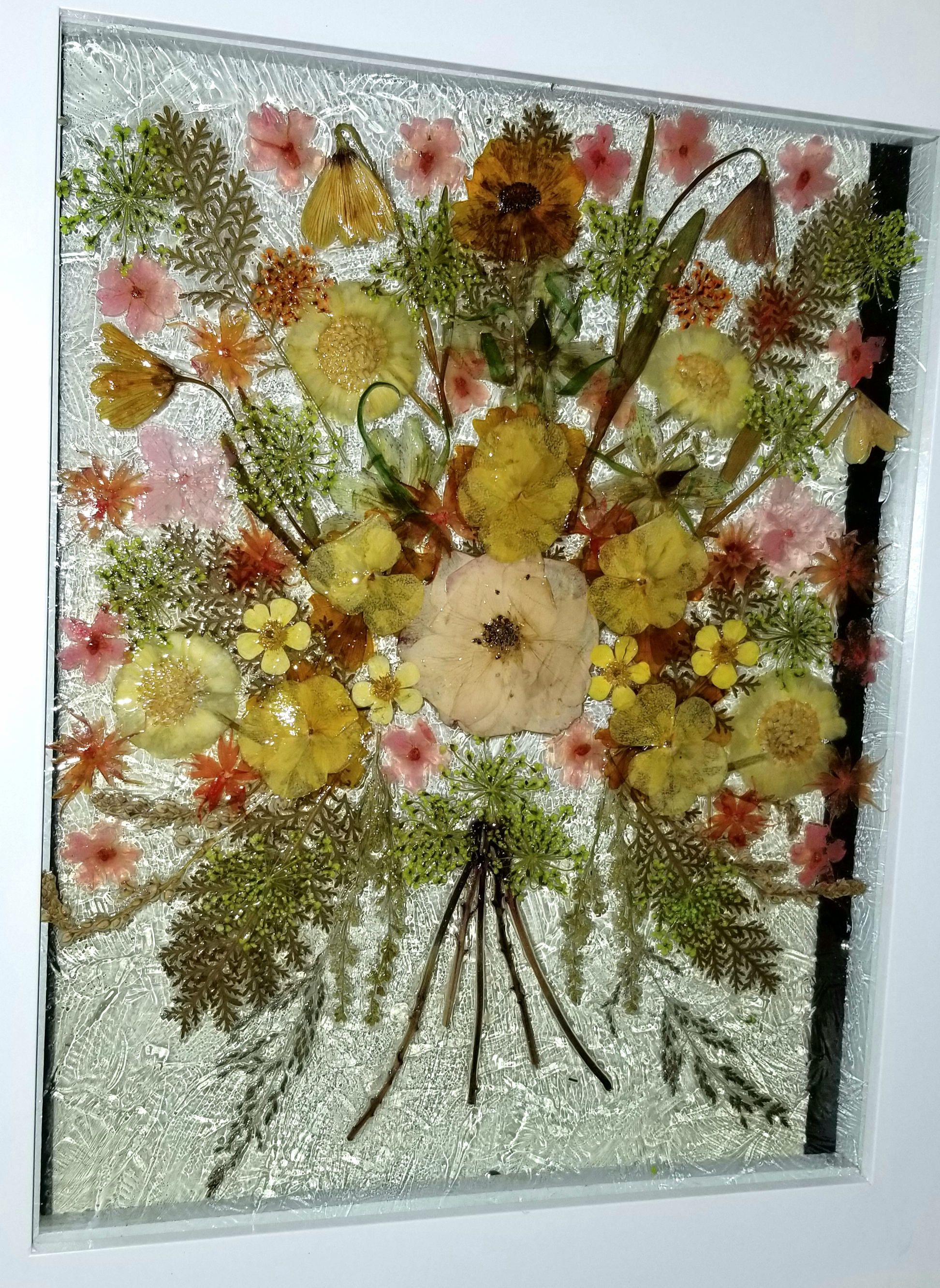 Real Pressed Flowers On Glass In White 10 X 12 Floating Glass Frame Real Flower Bouquet Yellow Red Gold Green O Framed Flower Art Flower Art Pressed Flower Art