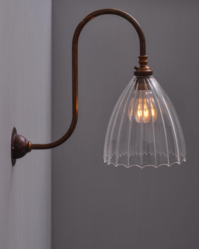 Ledbury Ribbed Glass Swan Neck Wall Light Victorian Wall Lighting Glass Wall Lights Victorian Wall Sconces