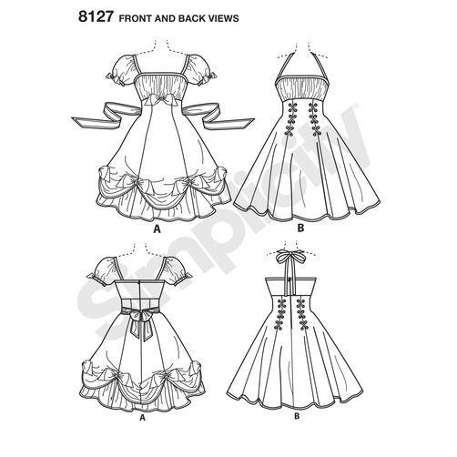 Simplicity Pattern 8127 Misses\' Lolita and Rockabilly Dresses ...