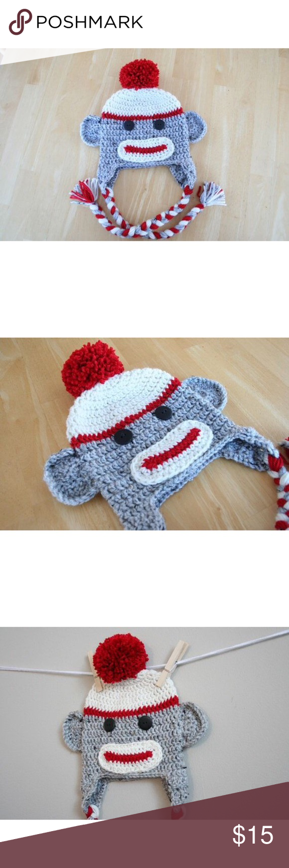 Sock monkey hat Character beanie ------- Can be made in different ...