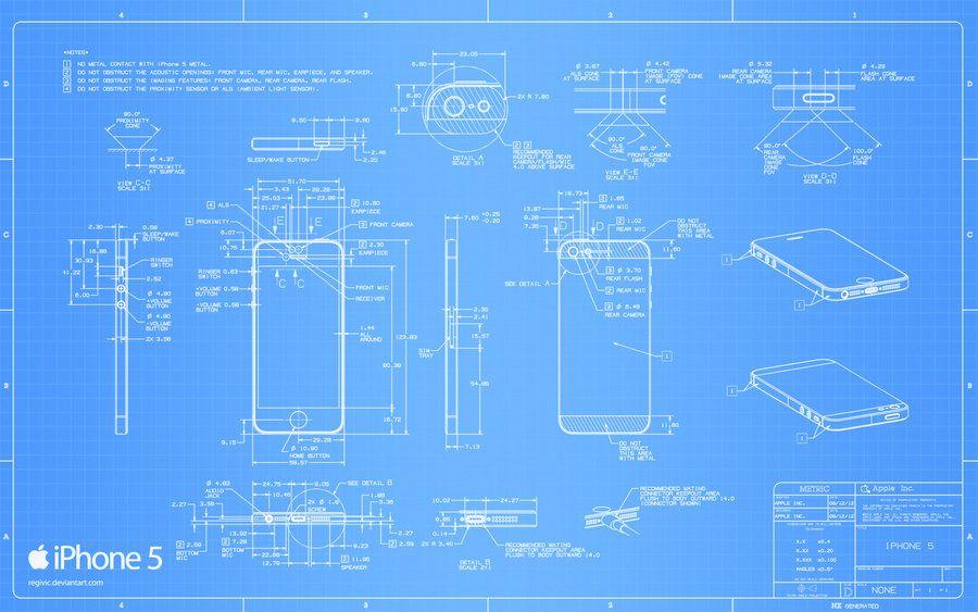 Wallpaper iPhone 5 Blueprint - 2560x1600 by Regivic ozadja - new blueprint software ios