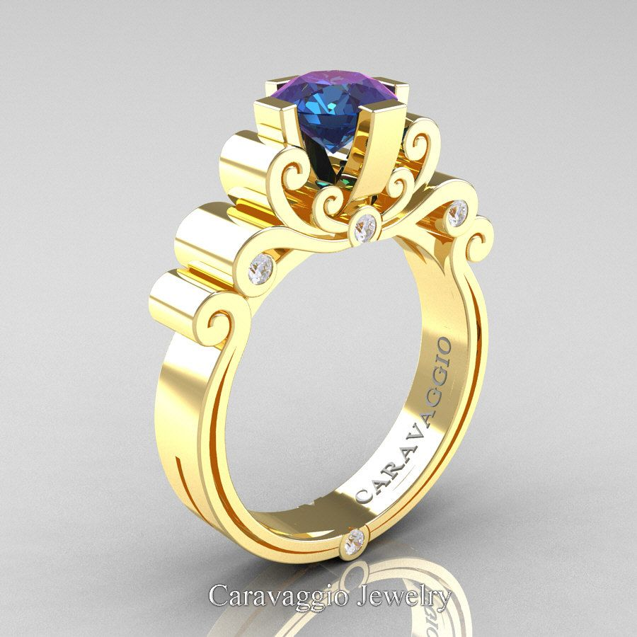 fa3f8e5e959f0 Caravaggio 14K Yellow Gold 1.25 Ct Alexandrite Diamond Engagement ...