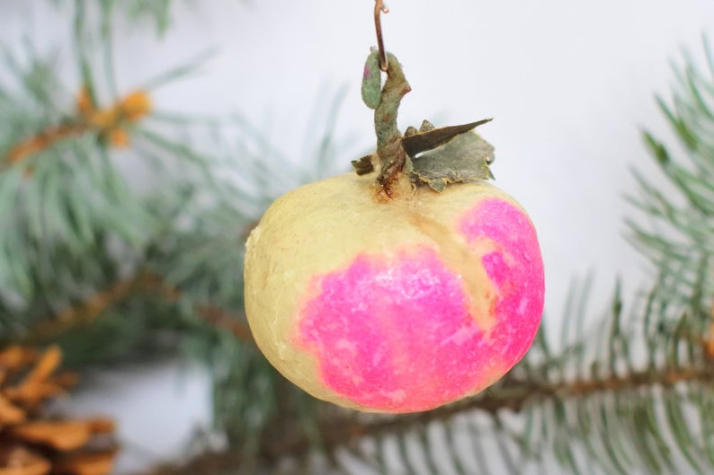 "Old Christmas toy ""Apple"", a stylish decoration of the"