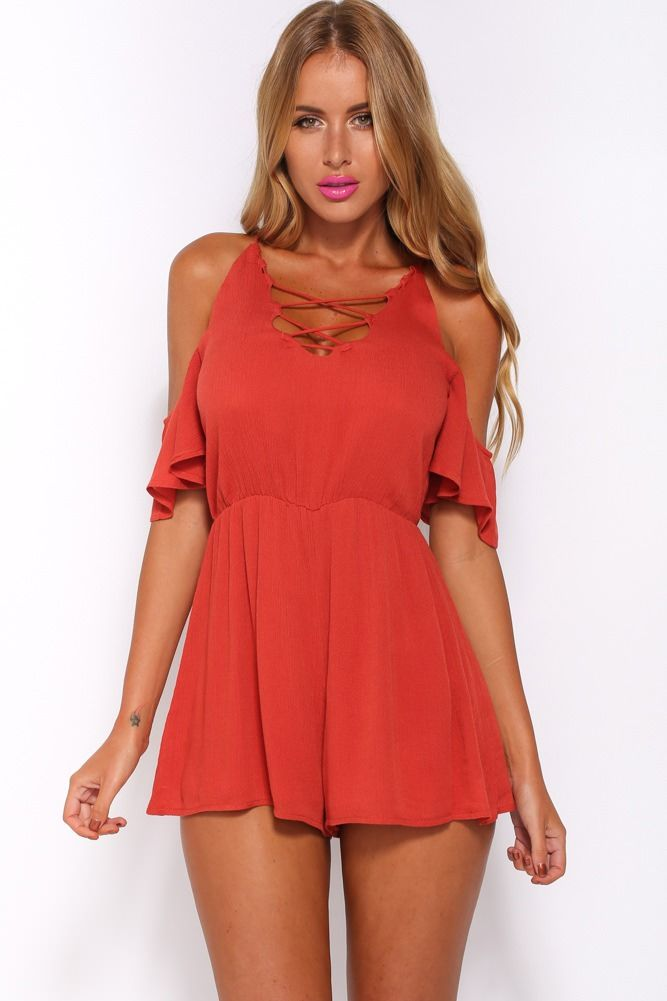 514250576995 The Way We Fit Playsuit Rust