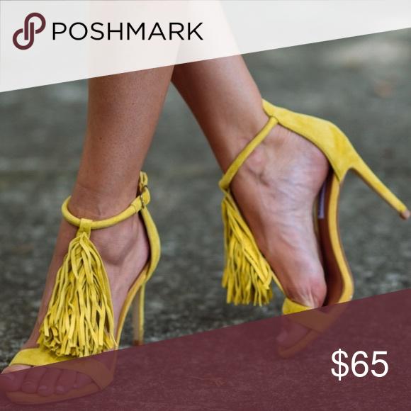 6020d83e9d4 Steve Madden yellow fringe heels Fun and flirty, these heels add a ...