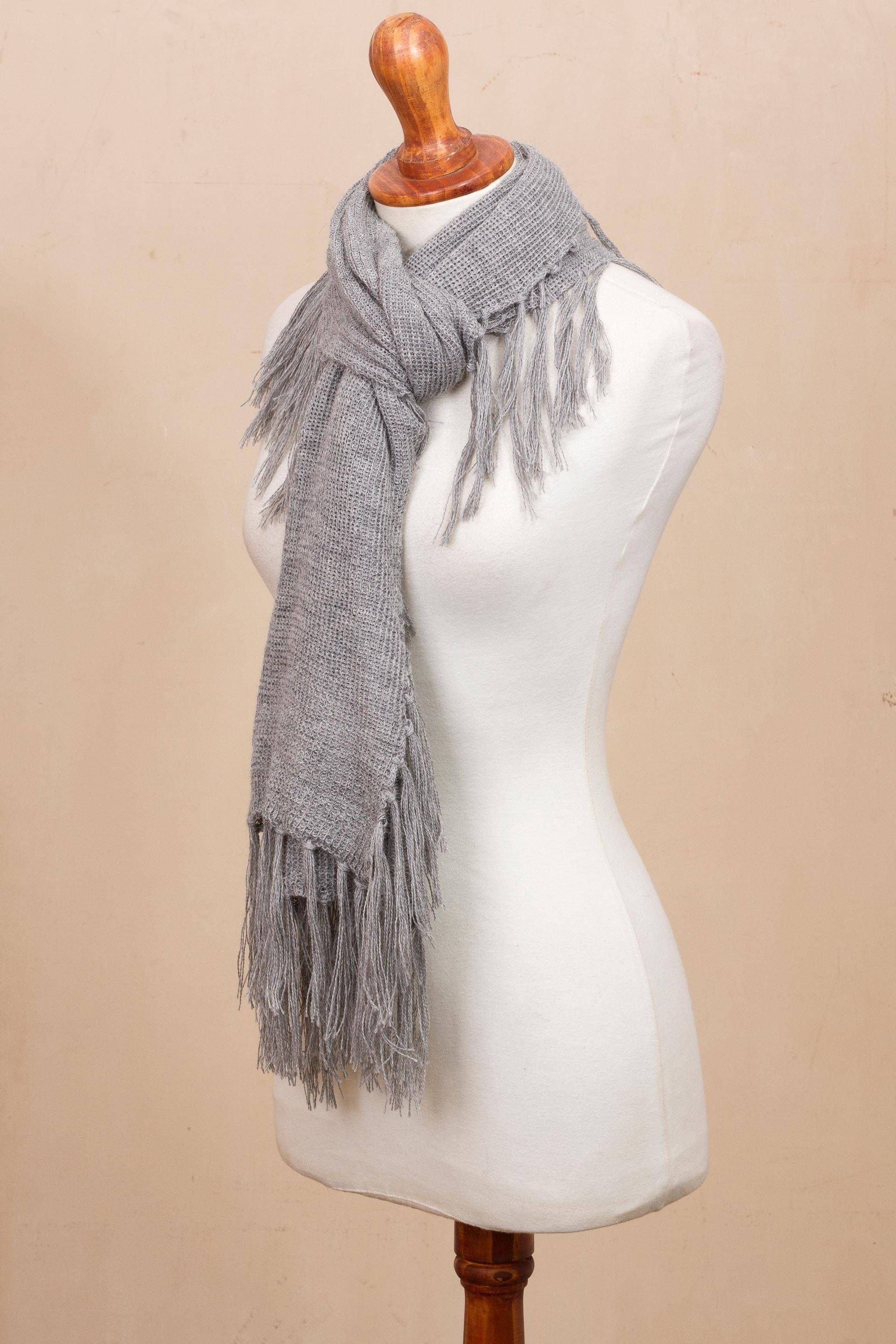 Fringed 100 Baby Alpaca Scarf In Smoke From Peru Fringed Style In Smoke Alpaca Scarf Baby Alpaca Scarf Casual Street Style