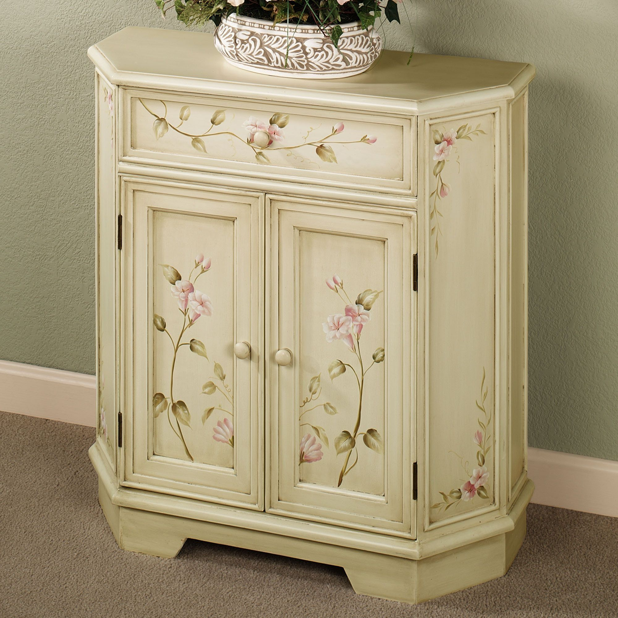 Attractive Bianca Antique White Floral Storage Cabinet. Hand Painted ...