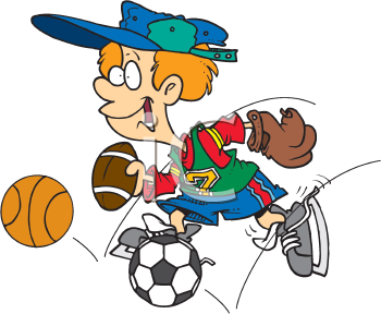 Iclipart Cartoon Clip Art Illustration Of A Boy With Lots Of Different Sports Equipment Clipart Illustration Sports Clip Art Royalty Free Clipart Free Clipart Images