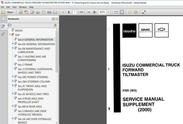 Isuzu Commercial Truck Forward Tiltmaster Frr Wt5500 6hk1 Tc Diesel Engine Chassis Service Manual Diesel Engine Diesel Windshield Glass
