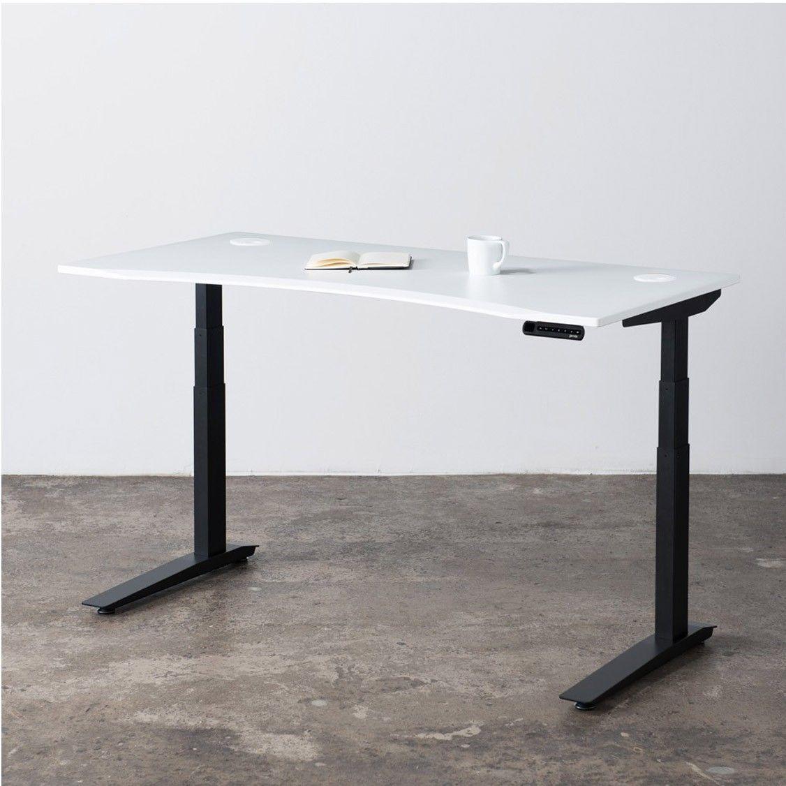 Jarvis Standing Desk Contour White Top Black Frame Best Standing Desk Height Adjustable Computer Desk Best Home Office Desk