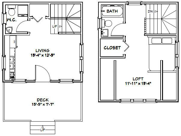 16x16 House 1 Bedroom 1 5 Bath 492 Sq Ft Pdf Floor Plan Instant Download Model 3a Garage Plans Shed Plans How To Plan