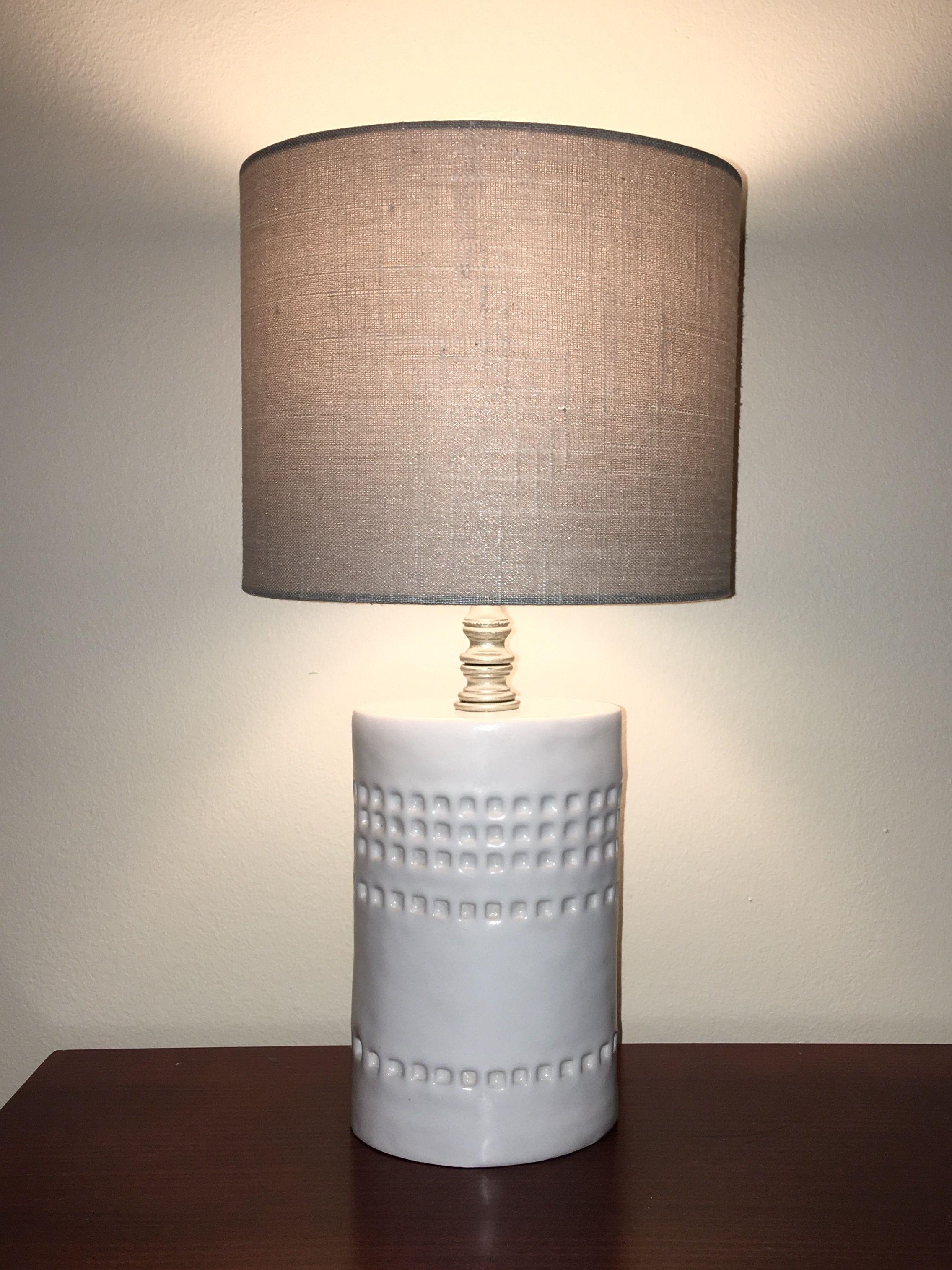 Handmade Ceramic Table Lamp Base Slab Built And Glazed In Shiny White Ceramic Table Lamps Pottery Lamp Lamp