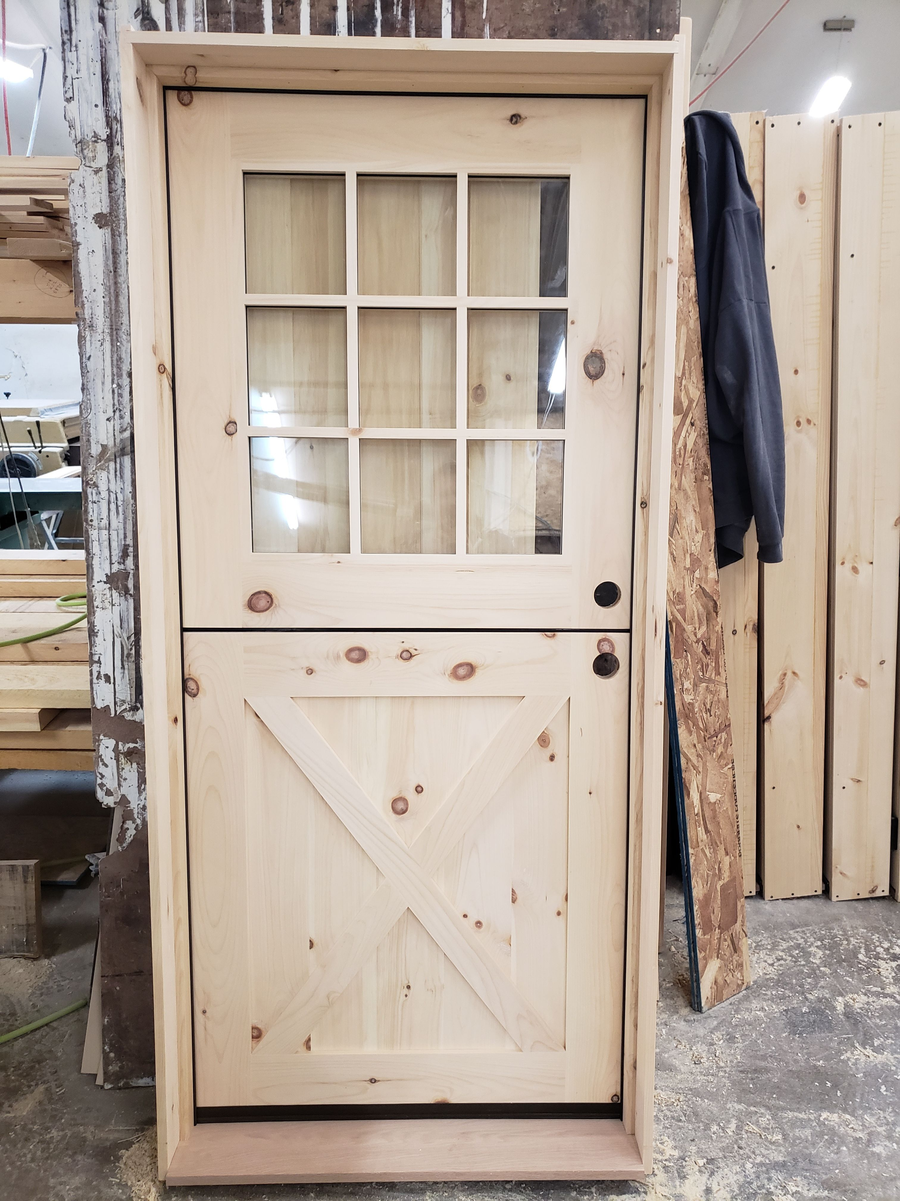 Exterior Dutch Door With 9 Lite Top And Crossbuck Bottom Call For A Free Quote Today 518 745 4066 Or Vi Dutch Doors Exterior Exterior Doors Custom Wood Doors
