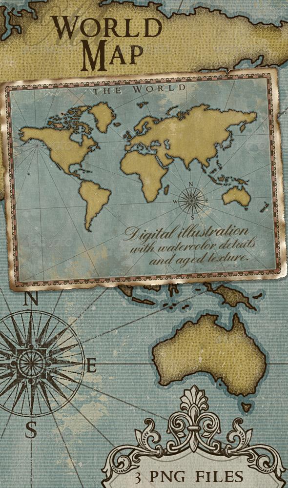 World map vintage style artistic worldmap watercolor and compass world map vintage style artistic gumiabroncs Gallery