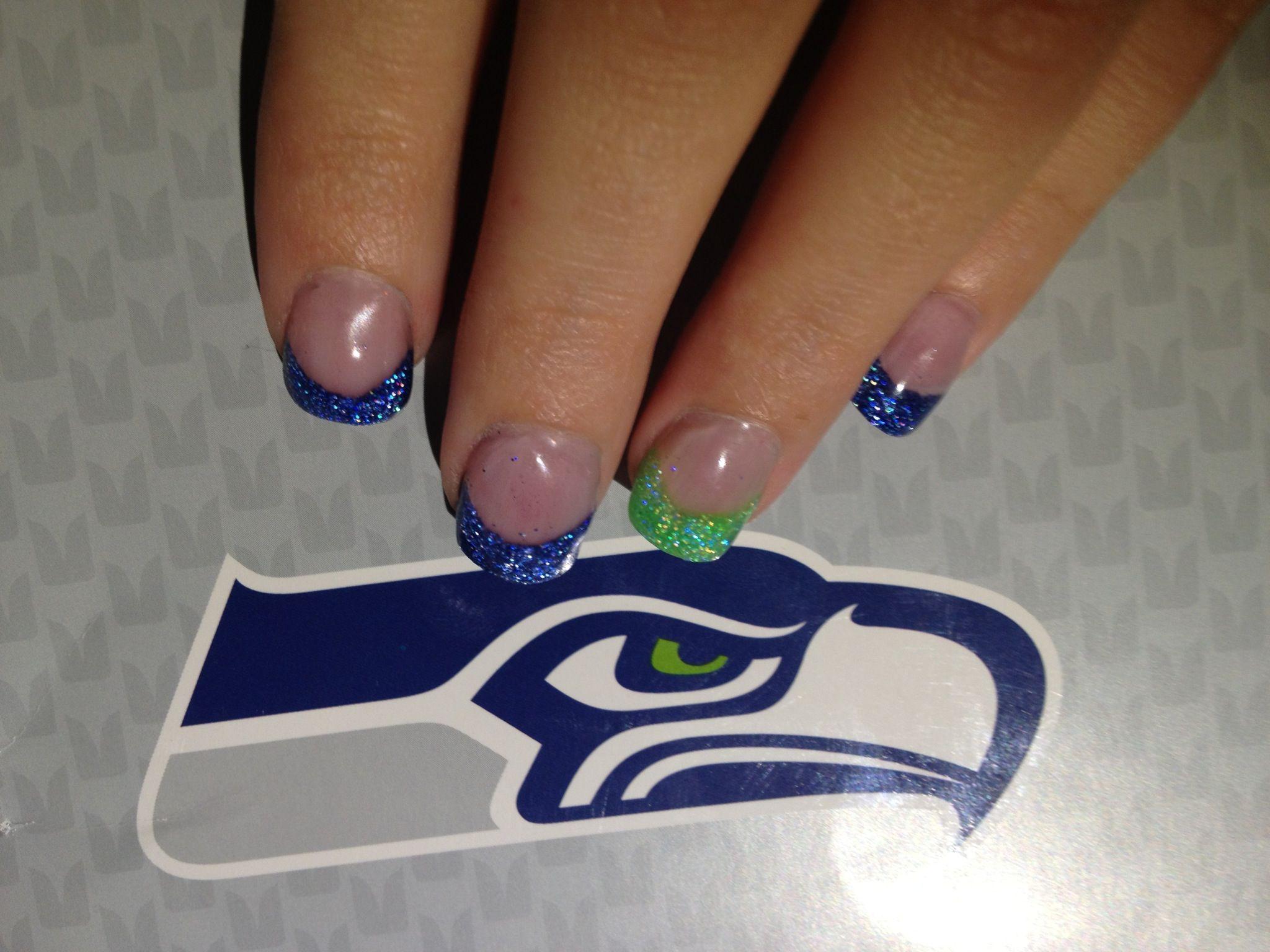 Seahawks Acrylics Nails | Seahawks nails, Acrylic nails, Nails