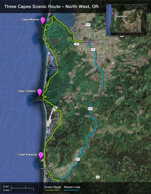 Three Capes Scenic Route Map | Places I\'d Like to Go | Cape, Oregon, Map