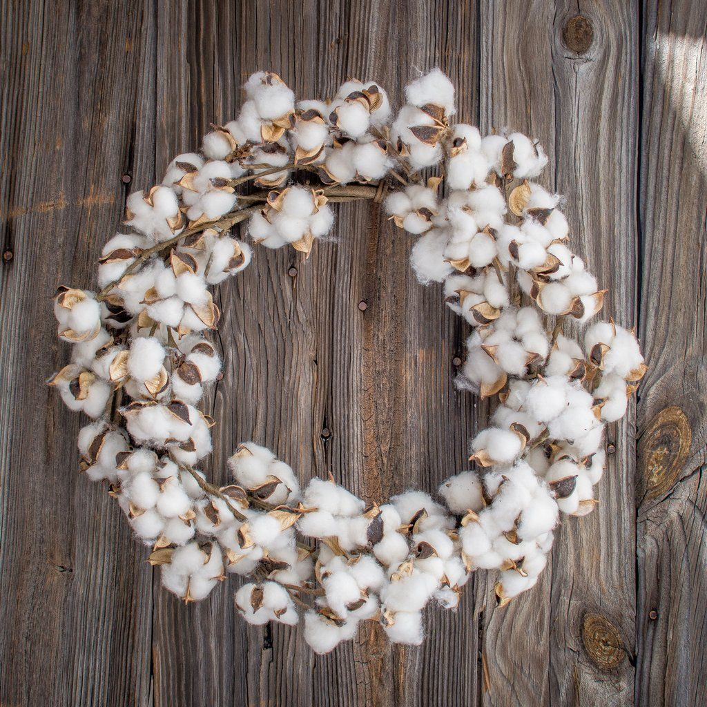 This 22 inch faux cotton boll wreath will add a rustic, farm house ...