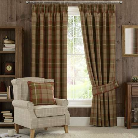 Patterned With Tartan Styled Checks In Autumnal Shades Of Rust, These Ready  Made Curtains Are Fabricated With A Luxurious Tweed Texture And Lined To  Retain ...