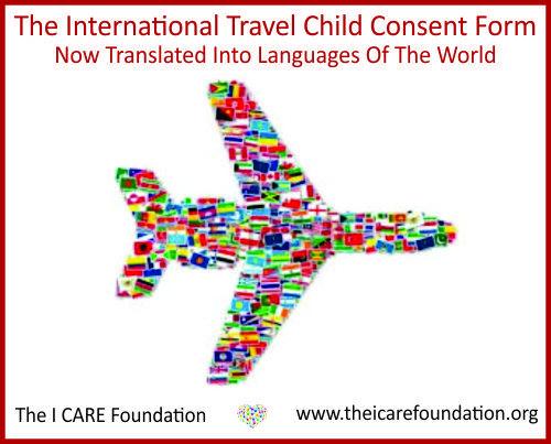 I CARE Foundation International Travel Child Consent Form A - travel consent form sample