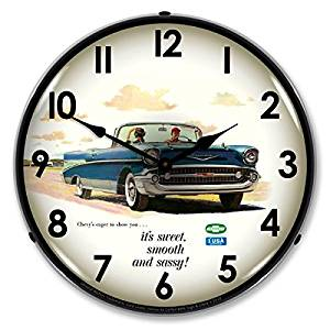 Collectable Sign And Clock Gm1001236 14 1957 Bel Air Convertible Lighted Clock Wall Clock Light Bel Air Chevy Bel Air