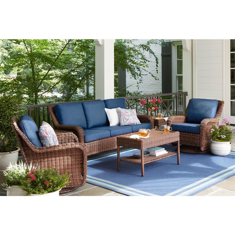 Hampton Bay Cambridge Brown Wicker Outdoor Sofa With Blue Cushions 65 17148bs The Home Depot Backyard Furniture Conversation Set Patio Resin Patio Furniture - Garden Furniture Clearance Poole