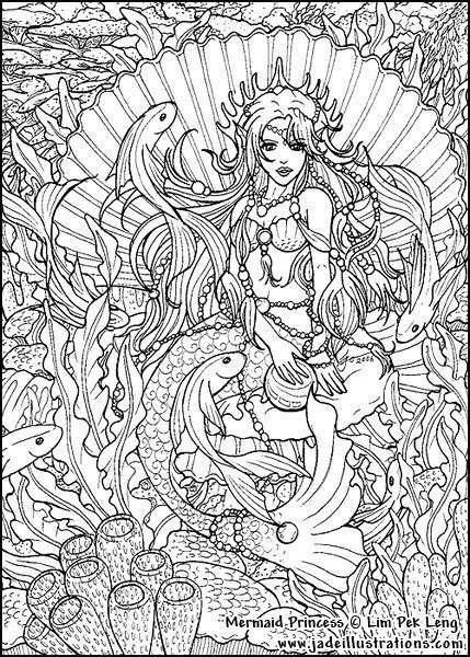 Mother And Baby Mermaid Adult Coloring Page Mermaid Coloring
