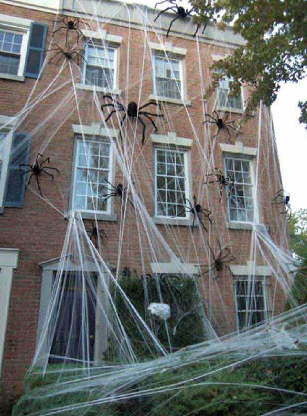LARGE SPIDER WEB ON HOME HALLOWEEN Pinterest Large spiders and - halloween house decoration ideas