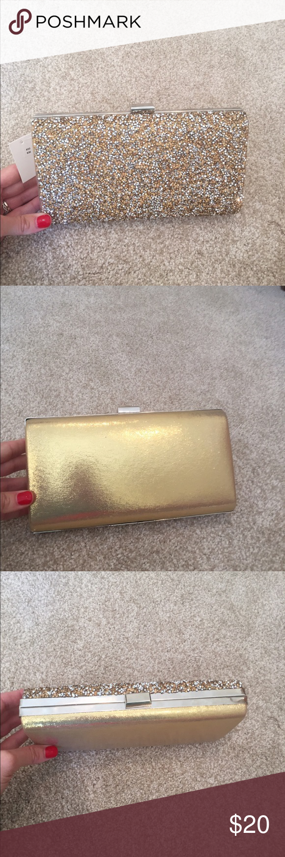 Gold clutch Beautiful gold clutch that has only been used once (at my wedding)! Perfect for a fun night out on the town! Bags Clutches & Wristlets