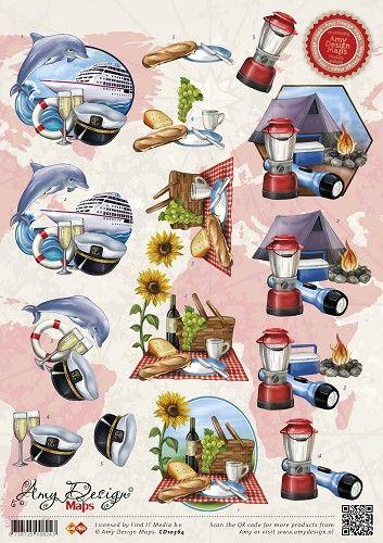 3D Knipvel van Amy Design, serie Maps met vakantie op een cruisboot