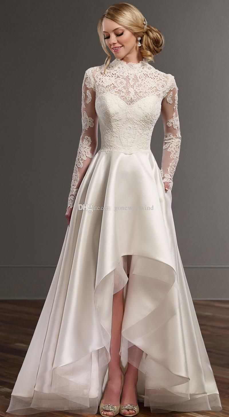Long sleeve casual wedding dress  Long Sleeve High Low Casual Wedding Dresses  Vintage Lace And